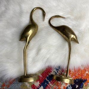 Vintage MCM Tall Brass Cranes Herons Figurines